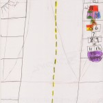 Nature is a Game: A fourth-grade girl drew a hopscotch game on the sidewalk.