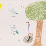 "Nature is Fun: Marissa, an elementary-school student, drew a picture of ""birds flying, wind, grass, tree with sticks coming out with tire swing and me in it and a sun."""