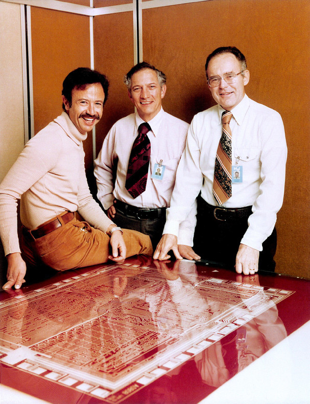 From left to right, Andy Grove, Robert Noyce and Gordon Moore in 1978. Image from Intel Free Press.