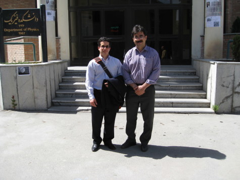 Me and Sohrab Rahvar outside the physics department of University of Sharif, May 13, 2008. (Photo: Forood Daneshbod.)