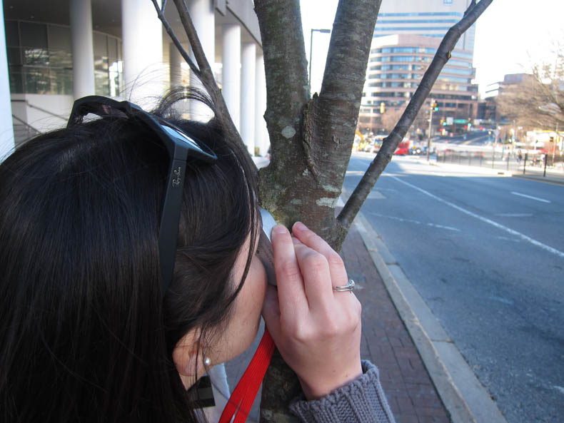 A woman holds a hand lens up to a tree trunk.