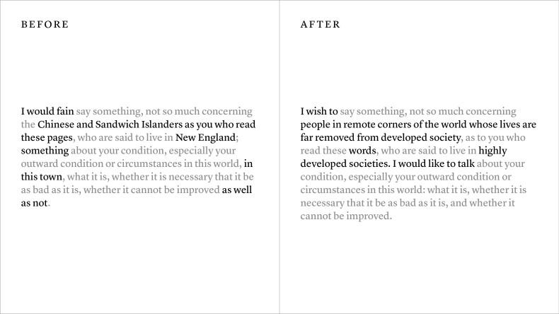 The New Walden Editorial Comparison
