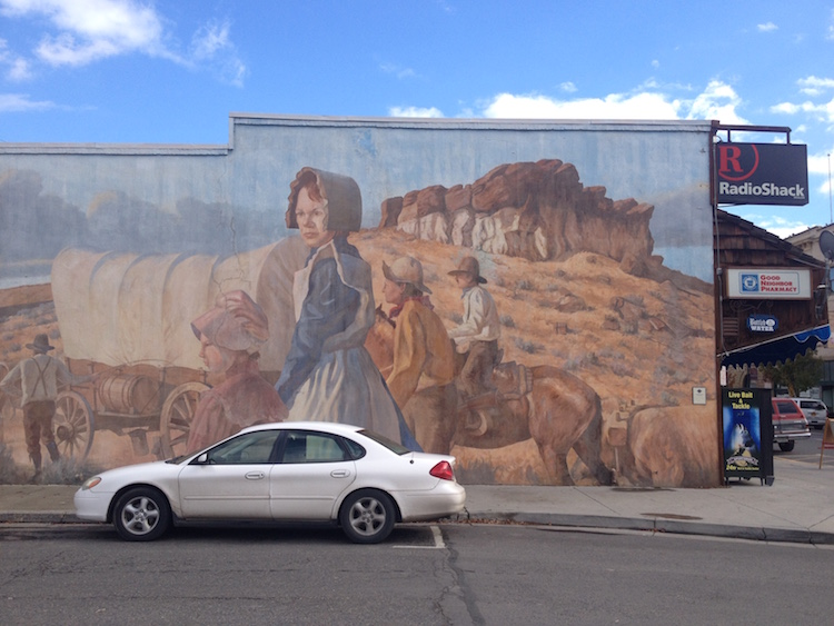 The logical endpoint of Manifest Destiny is...RadioShack? A mural in Vale, Oregon. Photo by Sarah Gilman.