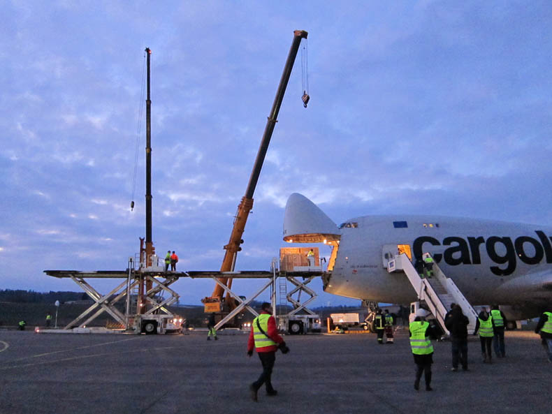 February 20, 2013: A cargo jet in Payerne, Switzerland, waits to swallow up the Solar Impulse.