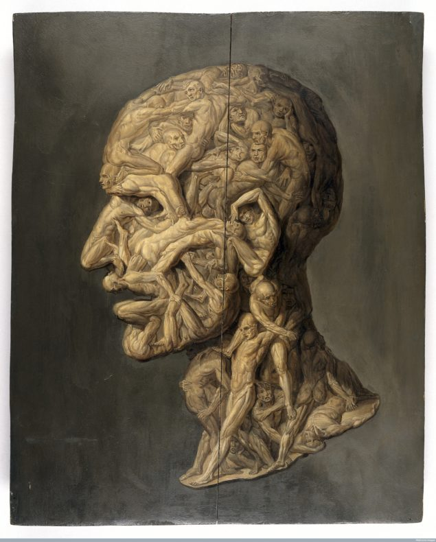 L0013119 Testa anatomica; man's head made up of writhing male figures. Credit: Wellcome Library, London. Wellcome Images images@wellcome.ac.uk http://wellcomeimages.org Testa anatomica; profile view of male human head composed of writhing, apparently tormented naked men. Pre-conservation image shows a crack down the centre of the painting. See image L0069617 for post-conservation treatment. Oil By: Filippo BalbiPublished: - Copyrighted work available under Creative Commons Attribution only licence CC BY 4.0 http://creativecommons.org/licenses/by/4.0/