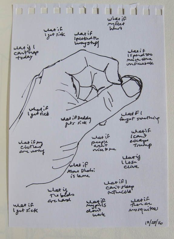 drawing a hand, with topics of worry written over it