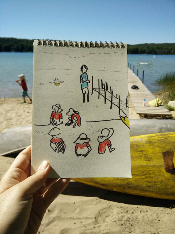 a drawing of a small boy with a red shirt, playing by a lake