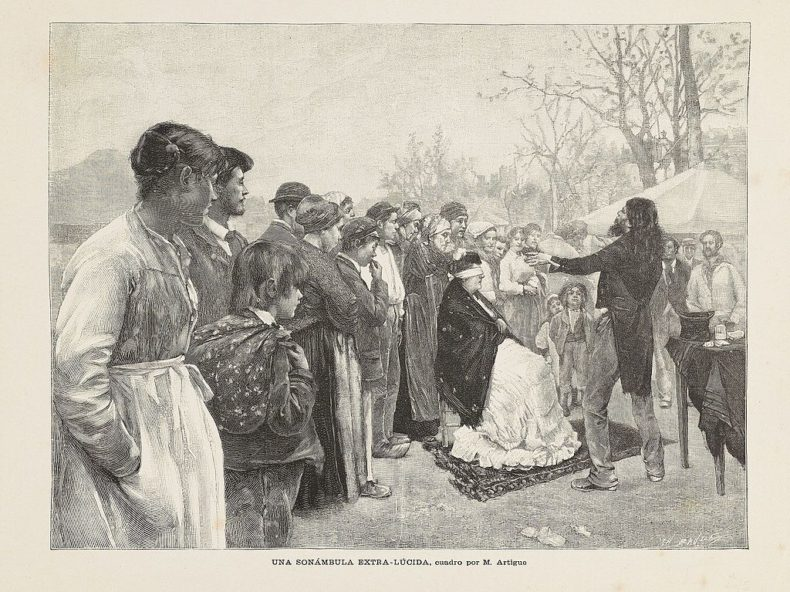 an etching of a crowd, a man performing a mind reading trick on a seated woman