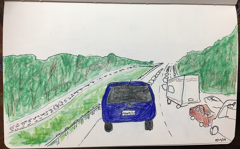 drawing of traffic jam on interstate