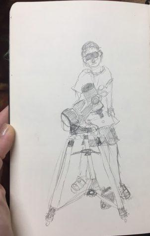 a woman, a telescope, a piece of paper
